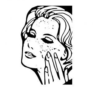 kobieta nacierająca twarz kremem - schemat